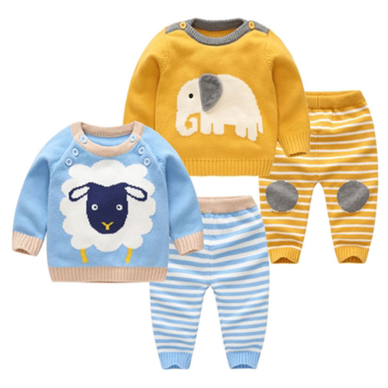Baby Boy Warm Knitting Suit Long Sleeve Spring Clothing Set Cartoon Cute Clothes Set for Newborn Babies Outerwear Clothing Sets 2pcs set cotton spring autumn baby boy girl clothing sets newborn clothes set for babies boy clothes suit shirt pants infant set