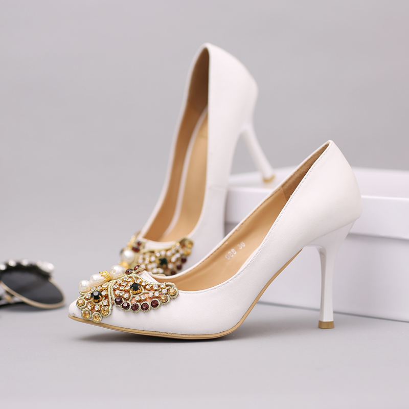 new arrival 2015 white lace pearls wedding shoes high