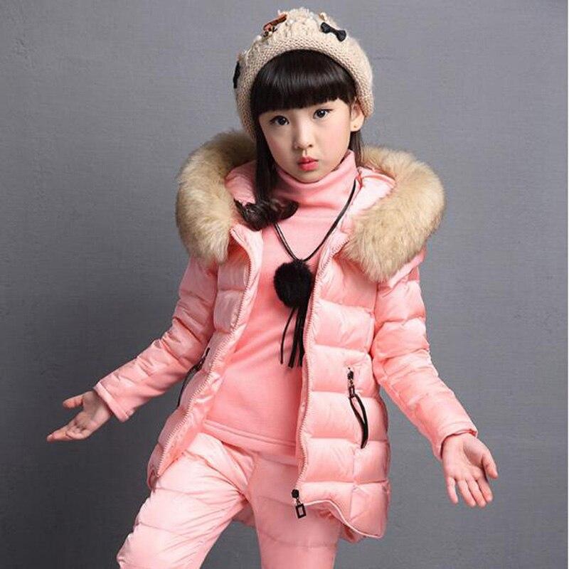 JENYA 2017 winter children clothing down&parkas girl baby cotton fashion thicken wadded jacket kids T-shirt+pants +vest 3pcs set