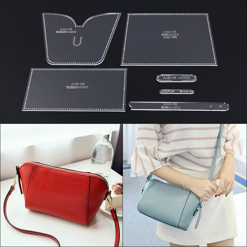 1set DIY Leather Handmade Craft Women Handbag Shoulder Bag Sewing Pattern Acrylic Stencil Template 27*16*11cm