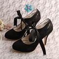 Wedopus MW525 Women's Mary Jane Closed Toe Ribbon Tie High Heel Lace Wedding Bridal Shoes