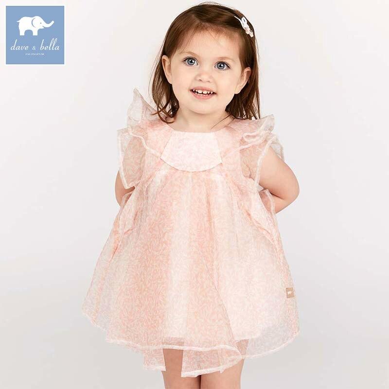 Dave bella/принцесса платье для девочек Детские костюмы детские летние вечерние Одежда для свадьбы для малышей шифон платье DB7116