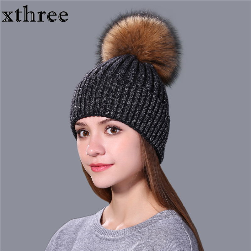 Xthree Fashion Female Winter Hat For Women And Girl Mink Fur Pom Poms Knitted Hat Beanie Hat  Brand New Thick Cap
