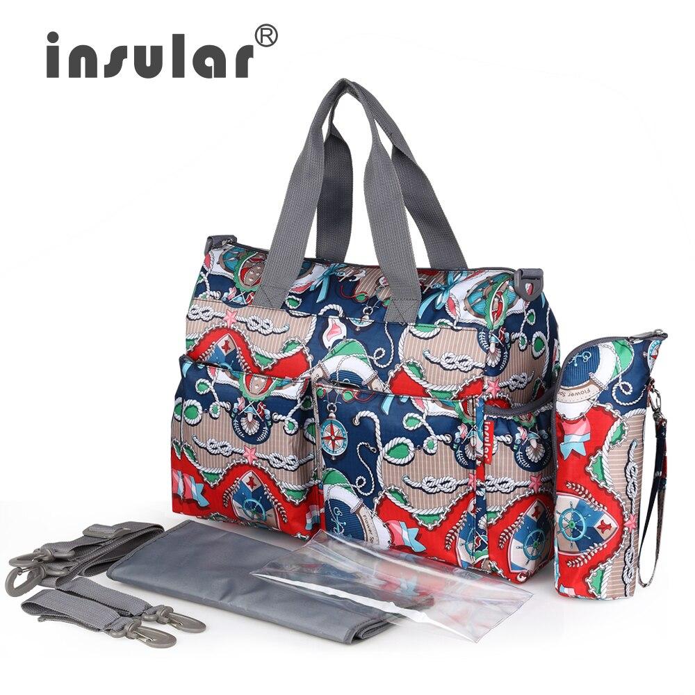 Vruća prodaja Elegantan ispis Mamica torba Gradska serija Moda Višenamjenska dječja torba za pelene Promjena vrećice Vodootporna vreća za bebe