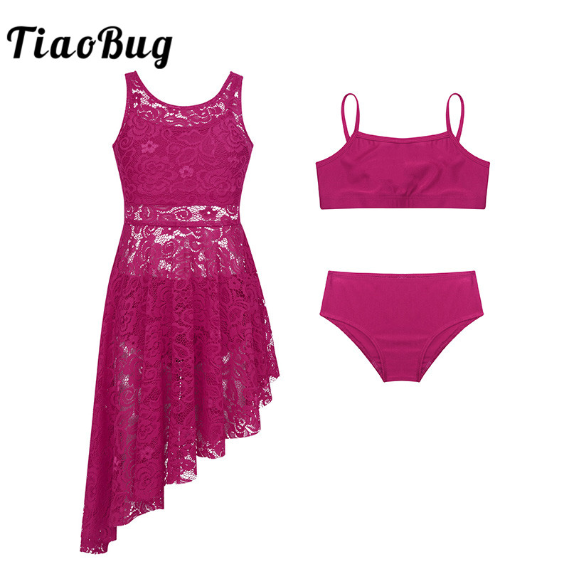 <font><b>TiaoBug</b></font> Kids Teens Floral Lace Dance Dress with Tops Panties Set Girls Ballet Tutu Gymnastics Suit Lyrical Dance Costumes Set image
