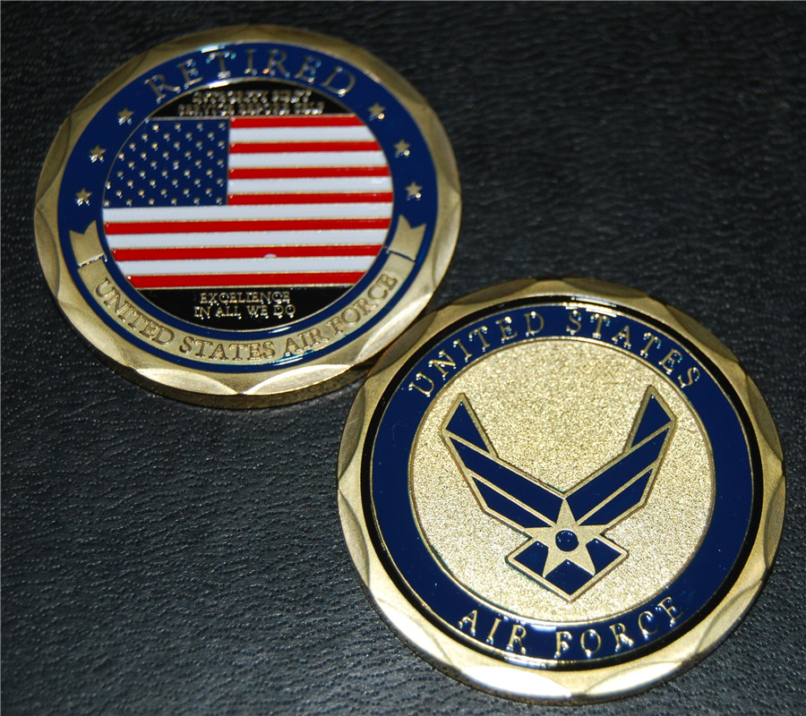 5PCS Gold Challenge Coin USA Retired Air Corps US Army Military Gold Plated Coin