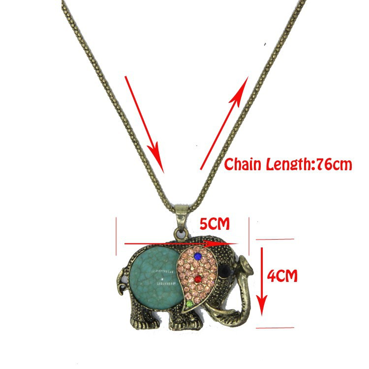 Fashion Long Retro Elephant Necklace