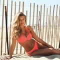 2016 Orange Bikinis Set Push Up Swimsuit Vintage Swimwear Bandage Women Halter Triangle Biquini Bathing Suit Plus Size XL