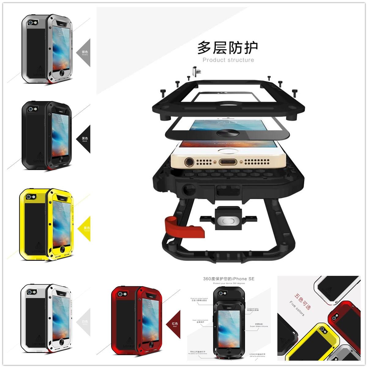 imágenes para Para el iphone de Apple SO iPhone 5S Original Amor Mei Tak Spuer Impermeable Caja De Aluminio gorilla glass + Aluminum Metal Armor caso
