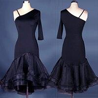 custom custmize one sleeve leopard latin Rumba cha cha salsa tango one-piece Latin dance dress competition wear S-XXXL