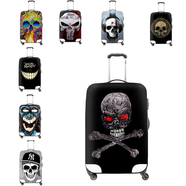 Skull printing elastic travel luggage cover waterproof Cool trolley luggage protective covers Travel Accessories Rain Covers