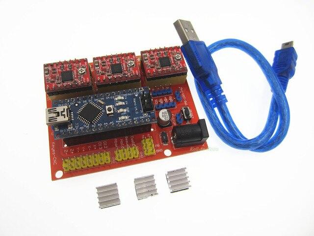 3DV4 CNC Shield V4 + Nano 3.0 + 3pcs A4988 Reprap Stepper Drivers Set for Arduino Free Shipping