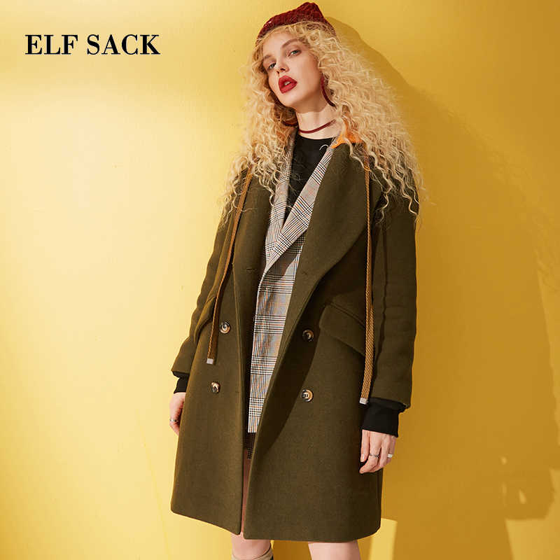 ELFSACK Plaid Button Front Wool Coat Women British Jacket 2019 Winter Turn-down Collar Vintage Female Casual Outwear