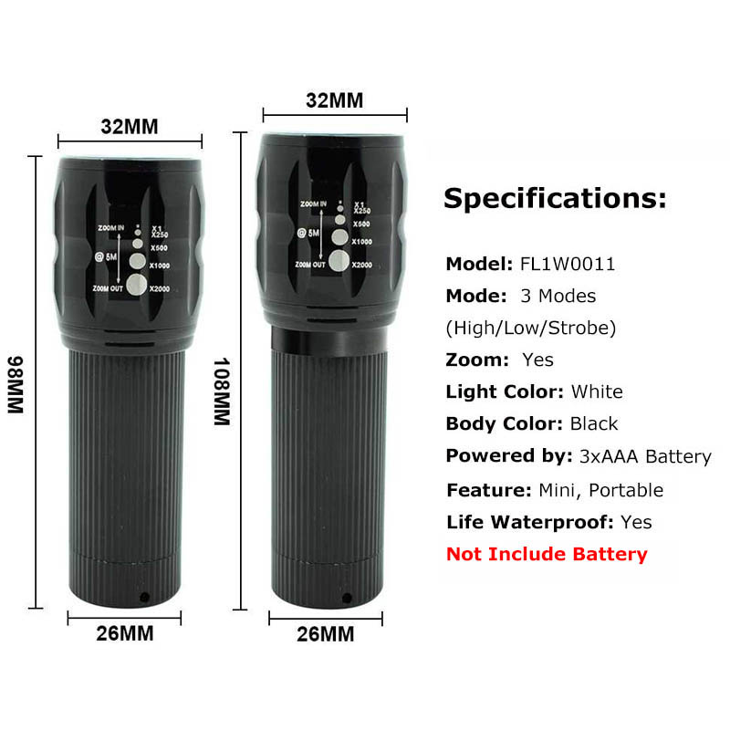 Mini Focusable LED Flashlight Portable Small Pocket Flash Light Camping Lamp 3 Modes Zoomable Torch for Bike Bicycle Cycling