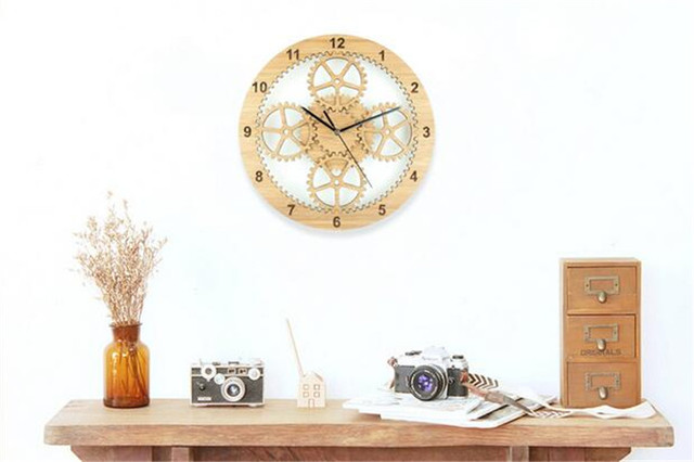 PINJEAS Simple Wooden Gearwheel Decor Wall Clocks Creative Mural Clock On The Wall For Gifts 12 Inch Home Decor Living Office
