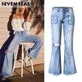 Super! Fashion New Vintage Low Rise Flare Ripped Jeans Women Hippie Jeans Femme Loose Tassel Wide Leg Denim Pants