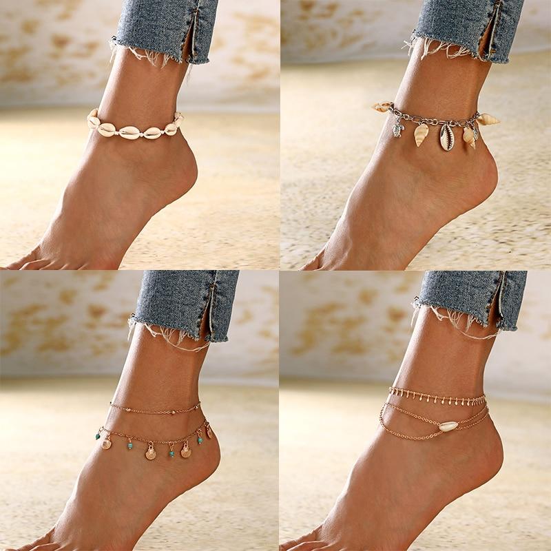 6Pcs//Set Women Beach Sea Shell Cowrie Stone Pendant Bracelet Anklet Jewelry NEW