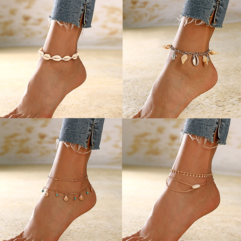 XIYANIKE Summer New Natural Shell Pendant Anklets 2019 For Women New Stone Beads Anklet Bohemian On Leg BOHO Ocean Jewelry