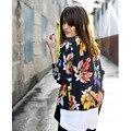 Цветок Печати Пальто Леди Байкер Бомбардировщик Куртка Женщин С Длинным Рукавом Выращивания Верхней Одежды 2017 Тонкий Куртки Для Женщин Vintage Пальто Femme