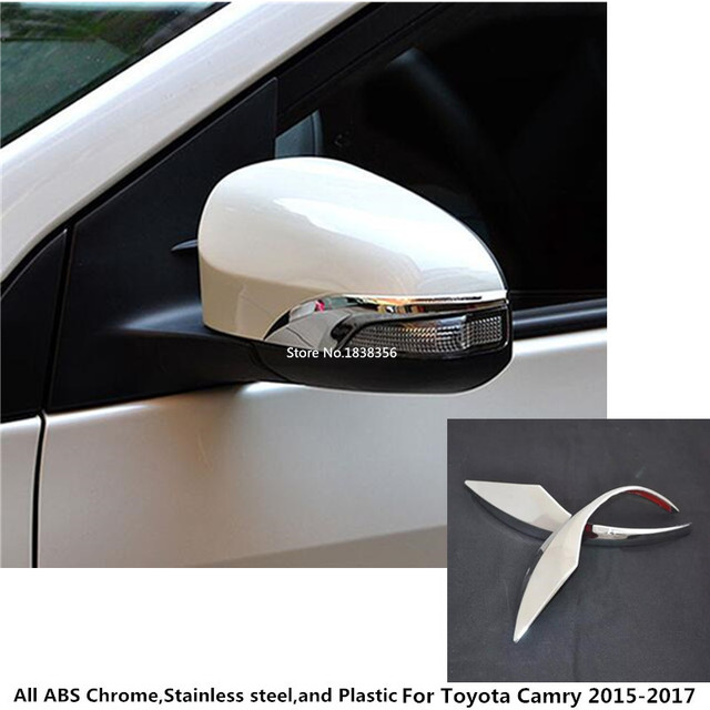 High Quality For Toyota Camry 2017 2016 Car Body Abs Chrome Back Rear View Rearview Side Mirror Cover Stick Trim Frame 2pcs