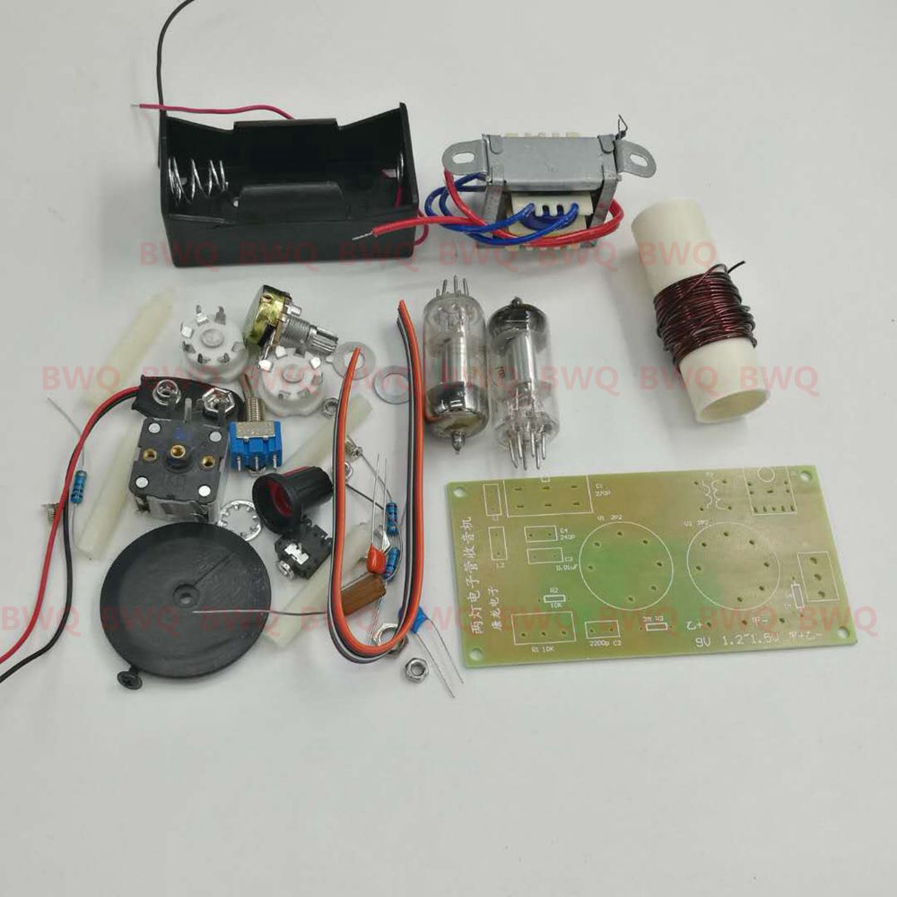 US $20 92 9% OFF|1PCS/LOT Regenerative tube radio kit DC two lights two  battery powered AM radio kit Medium wave with PCB board -in Photo Studio