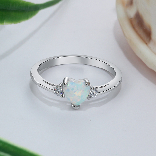 Classic Eternal Heart 925 Sterling Silver Rings for Women Blue Pink White Opal Ring Female Engagement Finger Ring (Lam Hub Fong) 3