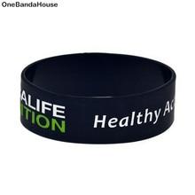 OneBandaHouse 1 шт. 1 дюйм широкий мотивационный силиконовый браслет Здоровый активный образ жизни браслет черный модные ювелирные изделия