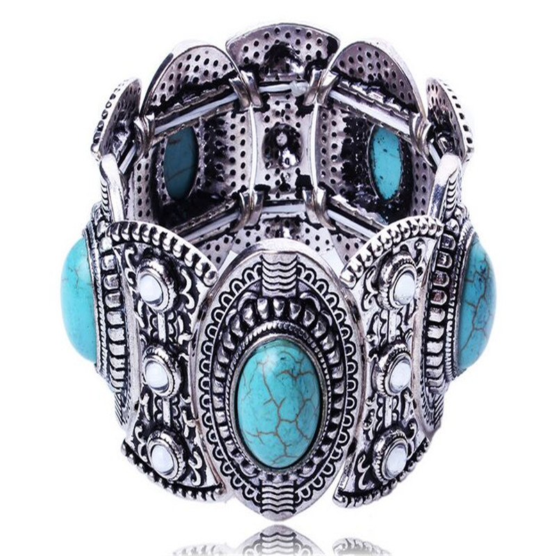 Brand Necklace Tibeten Silver Wide Chain Cuff Bracelet for Women Rhinestone Vintage Bracelet Jewelry Party Accessories