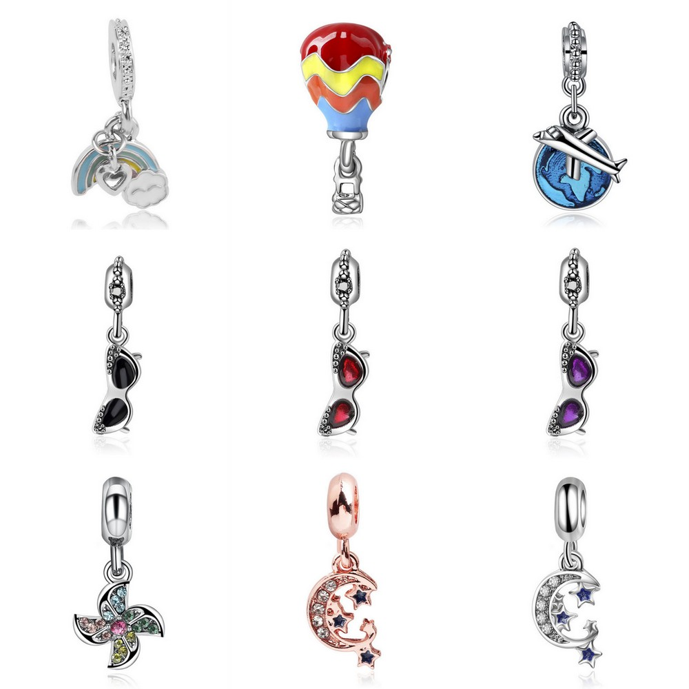 Free Shipping 1pc moon travel airplane windmill hot air balloon Charm diy Bead Fits Pandora Charm Bracelets Womem Jewelry image