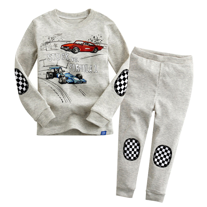 Cool Racing Car Kids Pajamas Boys Nightwear Children Clothing Baby Sleepwear Cartoon Autumn Winter Outfits Boys Clothes Set