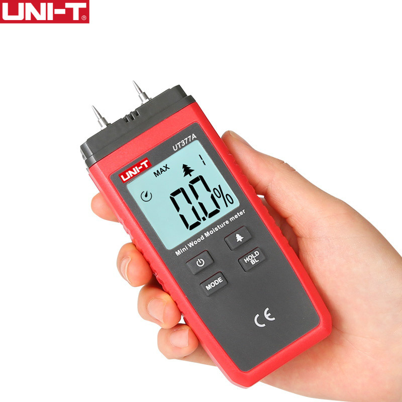 UNI-T UT377A Numérique Bois humidimètre Hygromètre testeur d'humidité pour Papier Contreplaqué En Bois Matériaux LCD Rétro-Éclairage