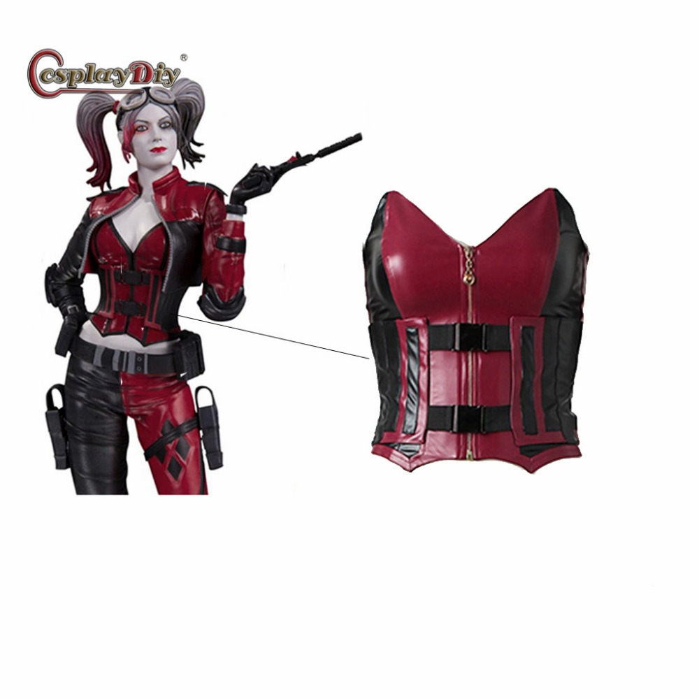 Cosplaydiy Injustice 2 Harley Quinn Cosplay Costume Women Sexy Corset Harley Quinn Top Cosplay Vest+Overbust For Halloween