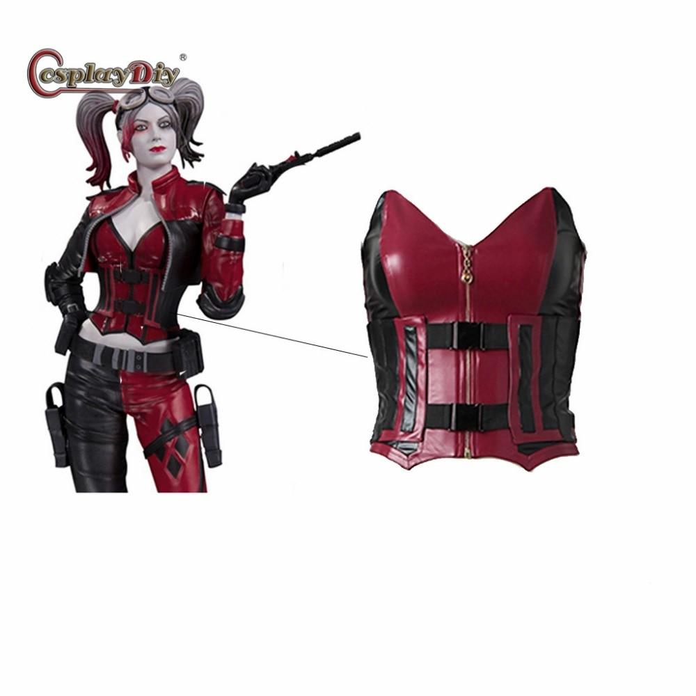 Cosplaydiy Injustice 2 Harley Quinn Cosplay Costume Women Sexy Corset Harley Quinn Top Cosplay Vest+Overbust For Halloween
