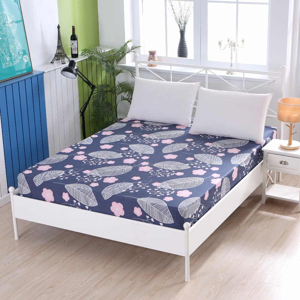 LAGMTA 1pc 100% cotton fitted sheet plant cartoon plaid mattress cover Four Corners With Elastic  sheet can be customizable