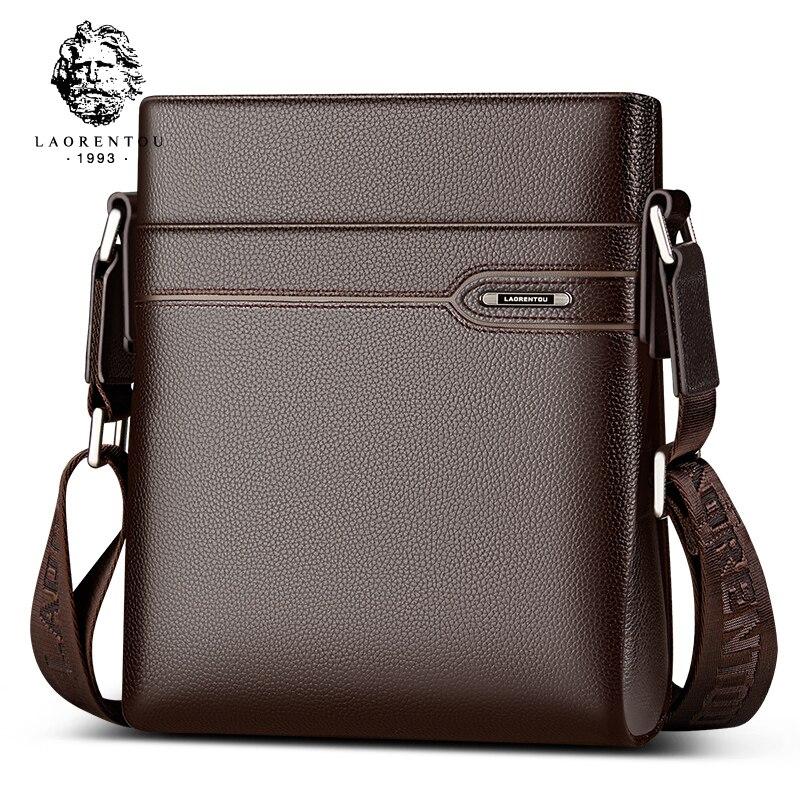 Laorentou из коровьей кожи Для мужчин сумка Повседневное Бизнес Винтаж Для мужчин мешок Пояса из натуральной кожи сумка Кроссбоди Мешок