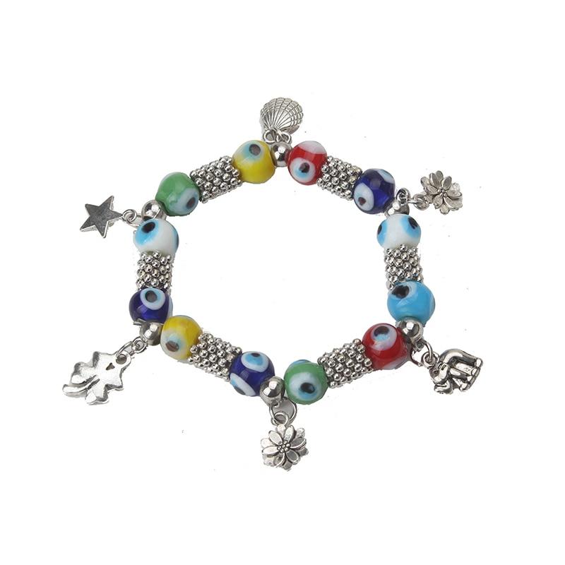 1 Pc Mode Bunte Evil Eye Perlen Armband Legierung Charme Armband Anlage/stern/tier Armband Frauen Schmuck Weihnachten Geschenke Eine Lange Historische Stellung Haben