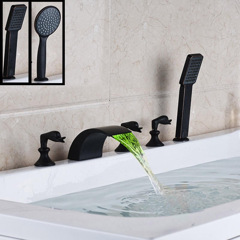 Deck Mounted Color Changing LED Light Waterfall Tub Sink Faucet Tap Widespread Oil Rubbed Bronze Finish with Handshower