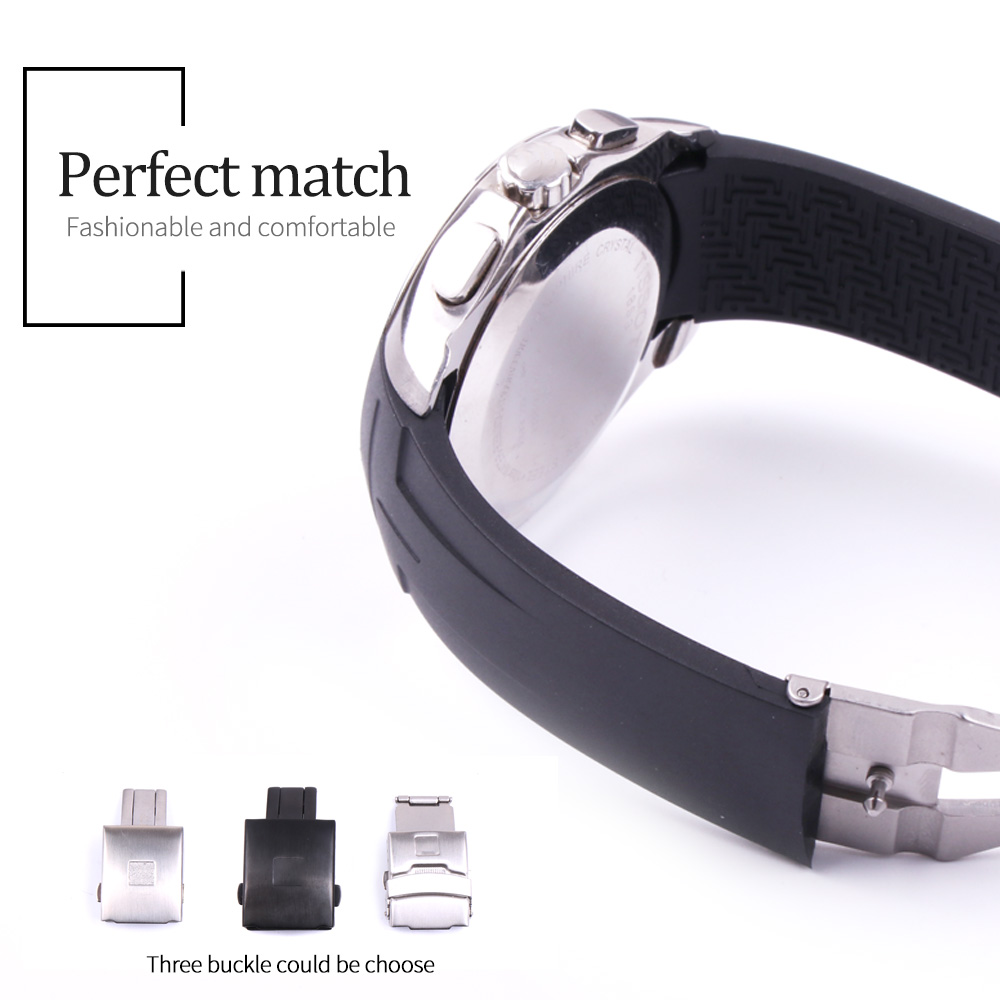 Image 2 - 22mm/23mm/24mm Silicone Watch Bands For Tissot T035407 T035.617 T035.439 Rubber Sport Men Watch Strap Black Watchband Waterproof-in Watchbands from Watches