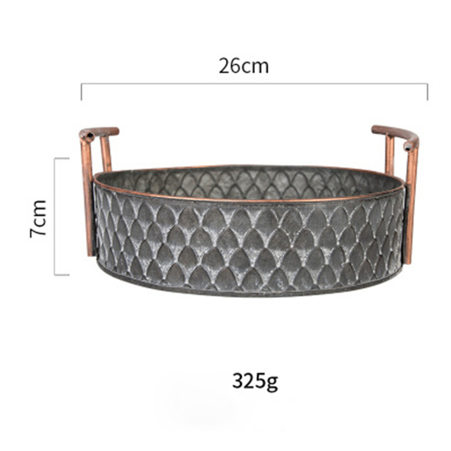 Scandinavian Metal Storage Basket with Handles Iron Vintage Elegant Luxury Desk Storage Organizer Decor Fruit Basket for Home 4