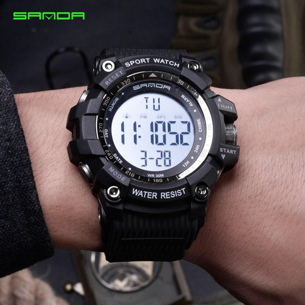 2020 SANDA montre numérique hommes marque de luxe montre militaire mode hommes Sport montre alarme chronomètre horloge mâle Relogio Masculino 2