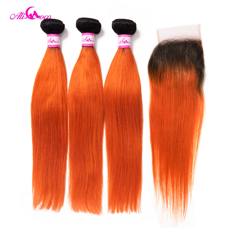 Ali Coco Straight Hair Bundles With Closure 1B Orange Color Brazilian Straigh Hair Weave 3 4Bundles