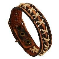 Unisex Knitted Leather Rope Buckle Bracelet Antique Punk Wristband Cuff Bangle 9TQE