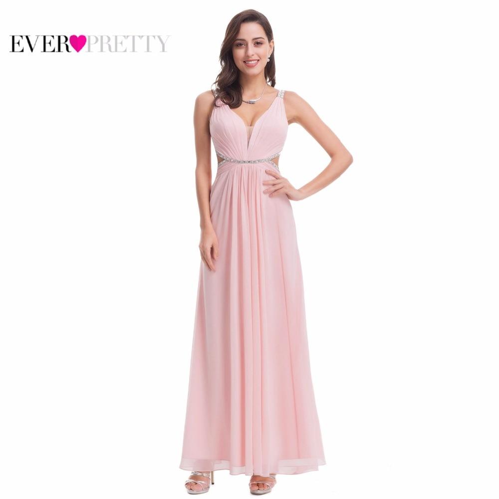 Ever Pretty EP07081 новый летний розовый V образным вырезом спинки Вечеринка платье 2018 пикантные длинные вышитые бисером вечерние платья на выпускн...