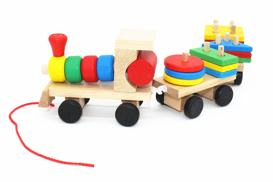 SUKIToy classic wooden models building toys blocks train for children boys Montessori game for kids gift shape matching 3