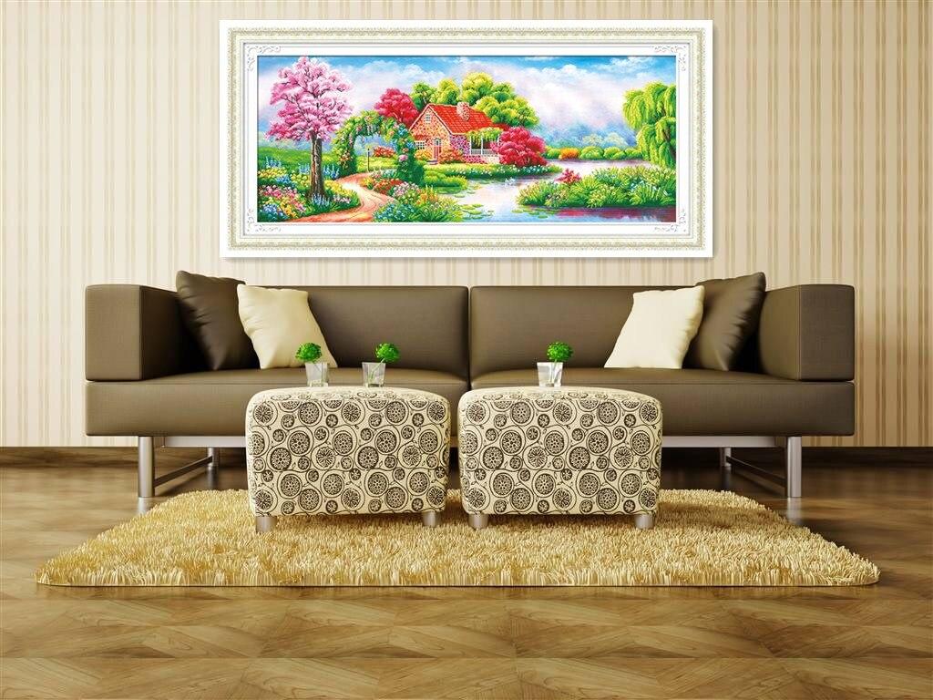 Garden house kit - Diy 5d Diamond Painting Scenic Garden House 3d Cross Stitch Kit Rhinestone Embroidery Landscape Crafts Home