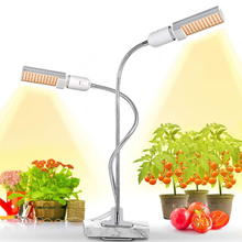 Full Spectrum LED Plant Growth Light E27 45W Double Goose Neck For Greenhouse Plants Indoor