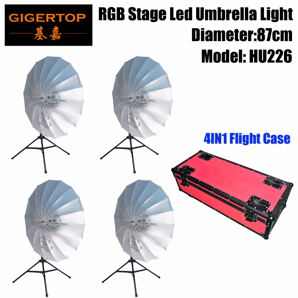 4IN1 Road Case Pack RGB Led Umbrella Light Eye Catcher Rainbow Effect DMX512 Control Easy Installation Diameter 87cm CMY Color
