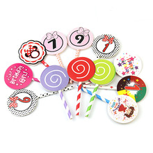 Cake Flags Cupcake Topper Lollipop numbers Toppers Bride Kids Birthday Wedding Bridal Wrapper Party Baking DIY