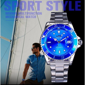 Winner Luxury Brand Design Blue Ocean Bezel Creative Watch Men Top Brand Luminous Casual Calendar Automatic Mechanical Watches 1