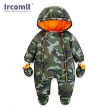 Ircomll 2018 детские комбинезоны для новорожденных, зимние толстые теплые детские комбинезоны для маленьких девочек и мальчиков, одежда для младенцев, камуфляжный комбинезон с капюшоном и цветочным принтом, Детская верхняя одежда